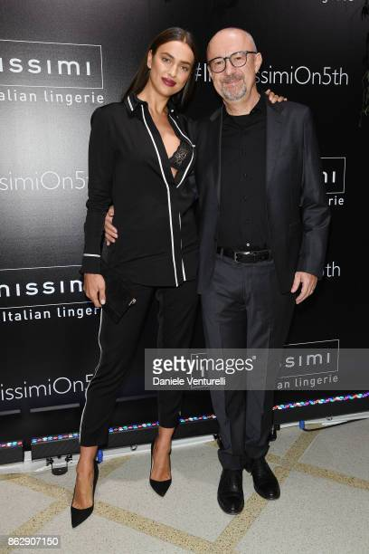 Irina Shayk and Sandro Veronesi attend the Intimissimi Grand Opening on October 18 2017 in New York United States