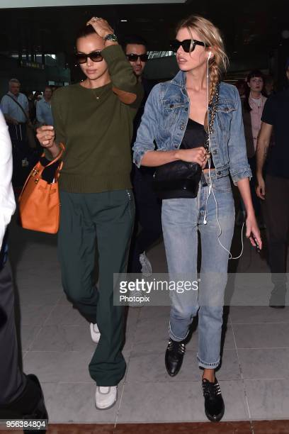 Irina Shayk and Stella Maxwell are seen arriving at Nice Airport during the 71st annual Cannes Film Festival at Nice Airport on May 9 2018 in Nice...