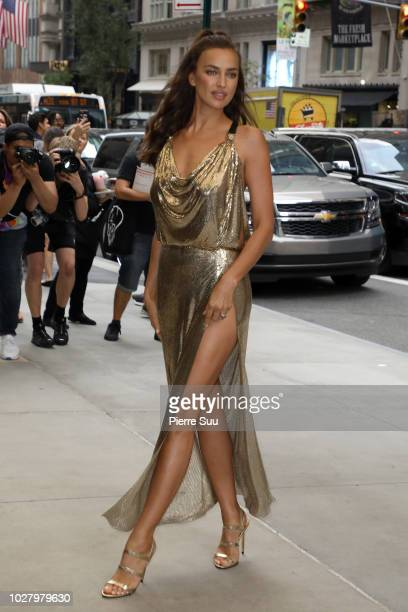 Irina Shayk arrives at the 6th annual fashion media awards at the Park Hyatt hotel on September 6 2018 in New York City
