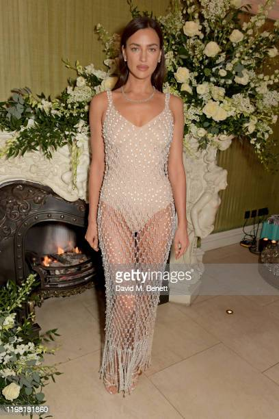 Irina Shayk attends the British Vogue and Tiffany & Co. Fashion and Film Party at Annabel's on February 2, 2020 in London, England.