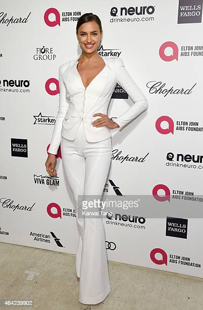 Irina Shayk attends the Elton John AIDS Foundation's 23rd annual Academy Awards Viewing Party at The City of West Hollywood Park on February 22 2015...