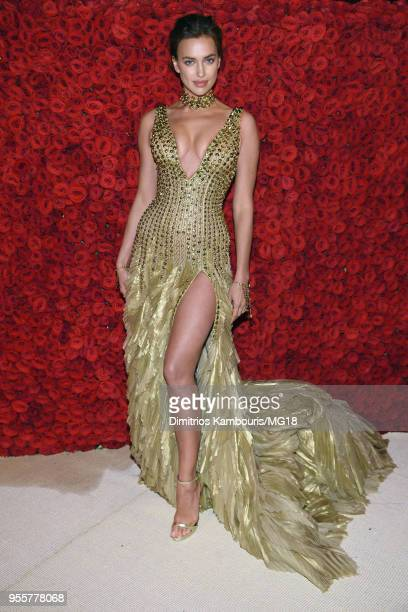 Irina Shayk attends the Heavenly Bodies: Fashion & The Catholic Imagination Costume Institute Gala at The Metropolitan Museum of Art on May 7, 2018...