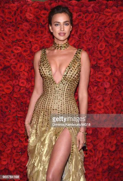 Irina Shayk attends the Heavenly Bodies Fashion The Catholic Imagination Costume Institute Gala at The Metropolitan Museum of Art on May 7 2018 in...