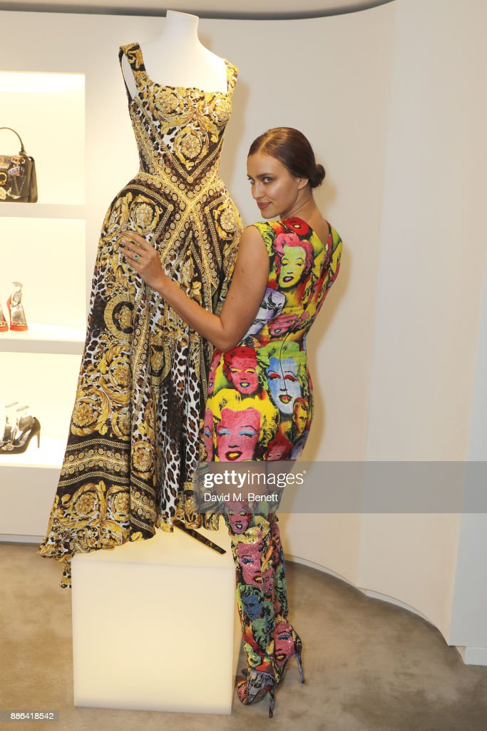 Irina Shayk attends the launch of the new Versace Sloane Street store on December 5, 2017 in London, England.