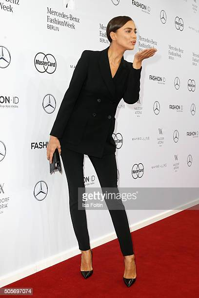 Irina Shayk attends the Marc Cain show during the MercedesBenz Fashion Week Berlin Autumn/Winter 2016 at Brandenburg Gate on January 19 2016 in...