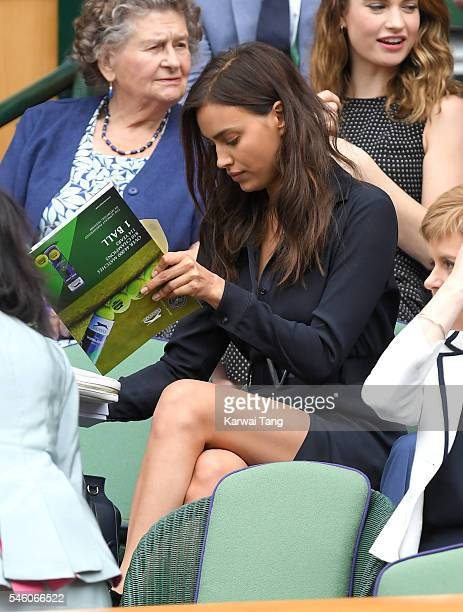Irina Shayk attends the Men's Final of the Wimbledon Tennis Championships between Milos Raonic and Andy Murray at Wimbledon on July 10 2016 in London...
