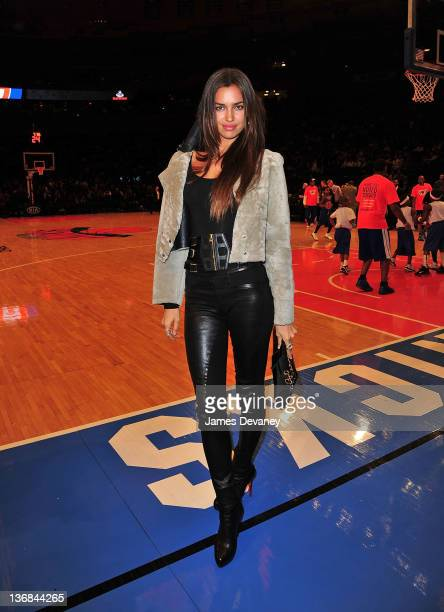 Irina Shayk attends the Philadelphia 76ers vs the New York Knicks game at Madison Square Garden on January 11 2012 in New York City