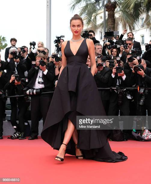 Irina Shayk attends the screening of 'Yomeddine' during the 71st annual Cannes Film Festival at Palais des Festivals on May 9 2018 in Cannes France