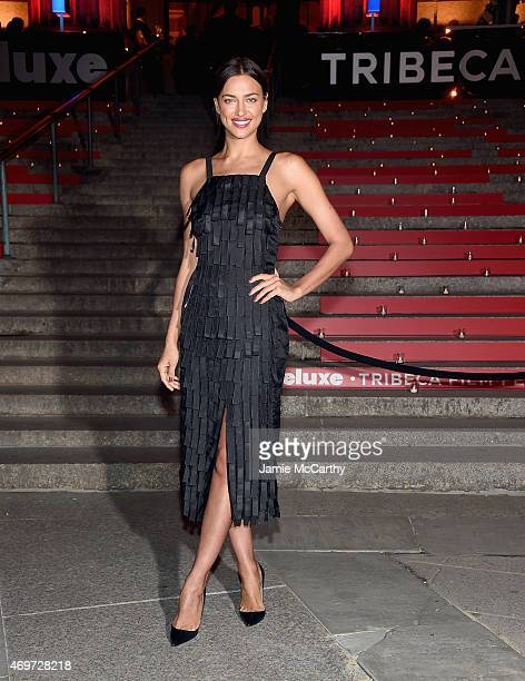 Irina Shayk attends the Vanity Fair Party during the 2015 Tribeca Film Festival at the New York State Supreme Courthouse on April 14 2015 in New York...