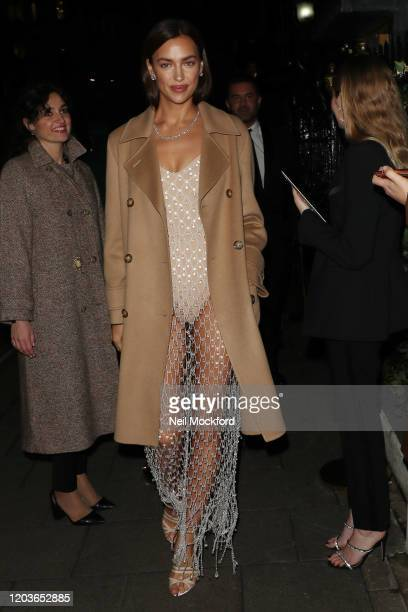 Irina Shayk attends the Vogue x Tiffany Fashion Film after party for the EE British Academy Film Awards 2020 at Annabel's on February 02 2020 in...
