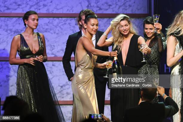 Irina Shayk Bella Hadid and Jessica Hart attend the amfAR Gala Cannes 2017 at Hotel du CapEdenRoc on May 25 2017 in Cap d'Antibes France