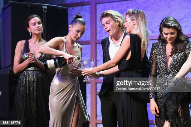 Irina Shayk Bella Hadid Jordan Barrett and Jessica Hart are seen on stage at the amfAR Gala Cannes 2017 at Hotel du CapEdenRoc on May 25 2017 in Cap...