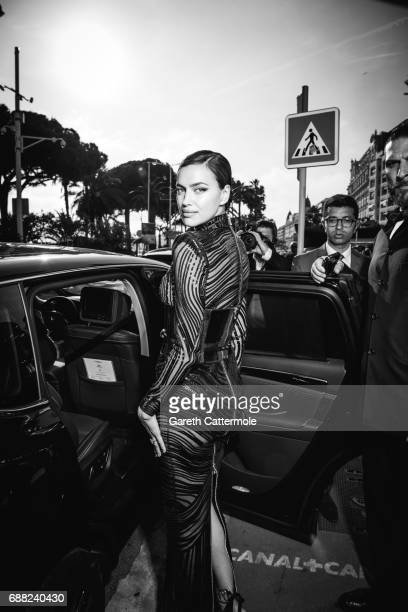 Irina Shayk departs the Martinez Hotel on May 24 2017 in Cannes France