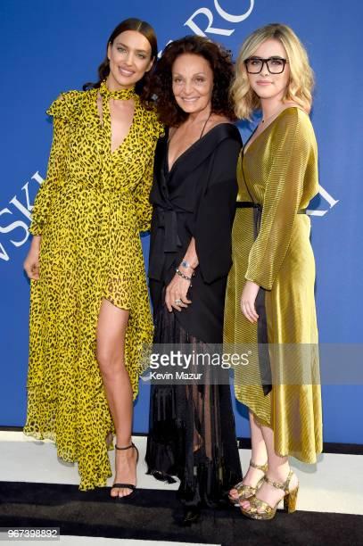 Irina Shayk Diane von Furstenberg and Delaney Tarr attend the 2018 CFDA Fashion Awards at Brooklyn Museum on June 4 2018 in New York City