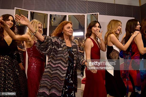 Irina Shayk Elsa Hosk Diane Von Furstenberg Lily Aldridge Gigi Hadid and Kendall Jenner pose wearing Diane Von Furstenberg Fall 2016 during New York...