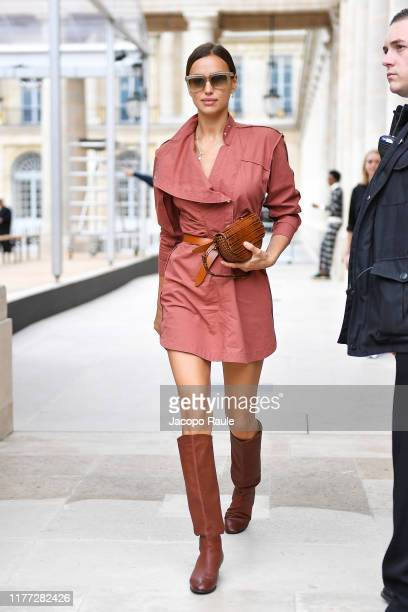 Irina Shayk is seen arriving at Isabel Marant during Paris Fashion Week - Womenswear Spring Summer 2020 on September 26, 2019 in Paris, France.