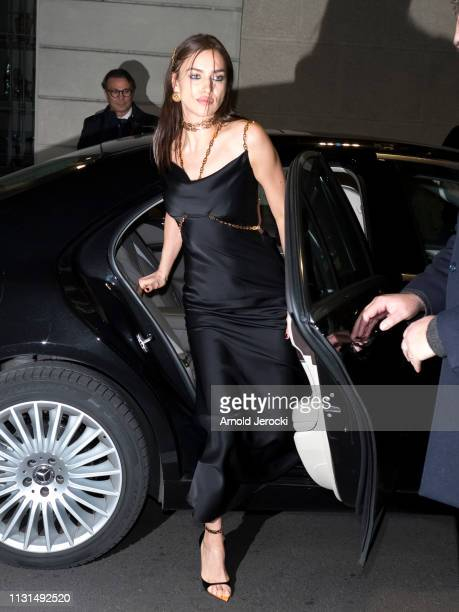 Irina Shayk is seen arriving to the Versace dinner on Day 3 Milan Fashion Week Autumn/Winter 2019/20 on February 22 2019 in Milan Italy