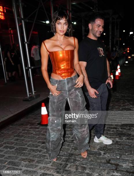 Irina Shayk is seen at the Bulgari party at Le Bain on September 08, 2021 in New York City.