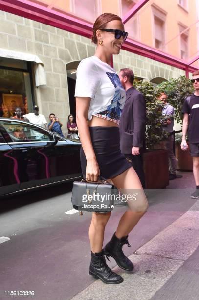 Irina Shayk is seen at Versace Fashion Show during the Milan Men's Fashion Week Spring/Summer 2020 on June 15 2019 in Milan Italy