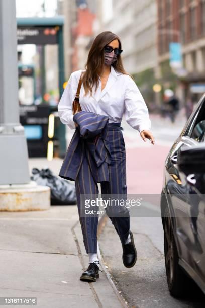 Irina Shayk is seen in Chelsea on May 03, 2021 in New York City.