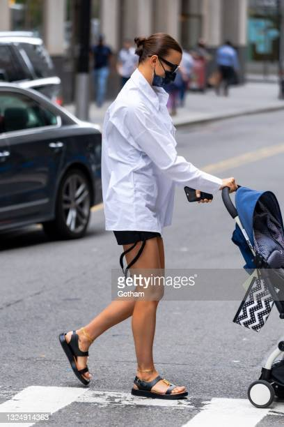 Irina Shayk is seen in the Financial District on June 22, 2021 in New York City.