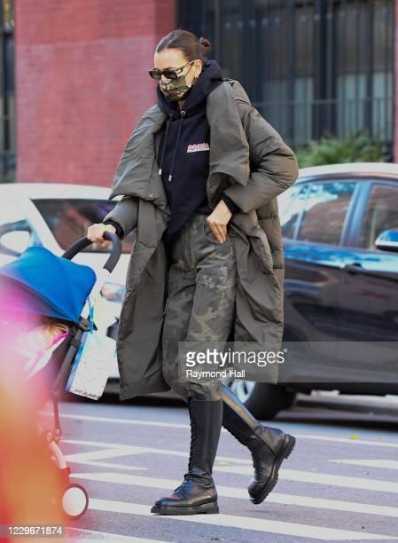 Irina Shayk is seen in the West Village on November 18, 2020 in New York City.