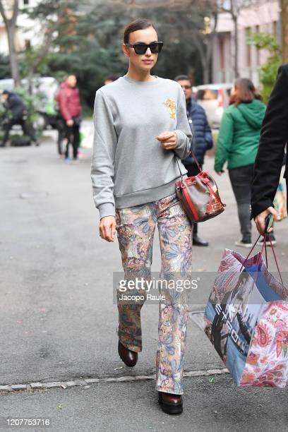 Irina Shayk is seen leaving the Etro fashion show on February 21 2020 in Milan Italy