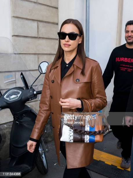 Irina Shayk is seen leaving Tod's fashion show on Day 3 Milan Fashion Week Autumn/Winter 2019/20 on February 22, 2019 in Milan, Italy.