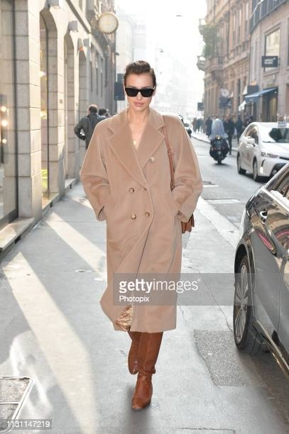 Irina Shayk is seen on Day 2 Milan Fashion Week Autumn/Winter 2019/20 on February 21, 2019 in Milan, Italy.