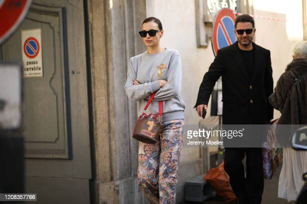 Irina Shayk is seen wearing a complete Etro look before Etro during Milan Fashion Week Fall/Winter 20202021 on February 21 2020 in Milan Italy