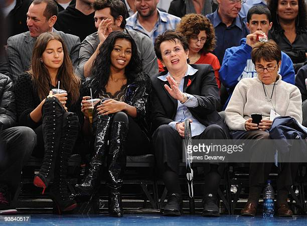 Irina Shayk Jessica White Billie Jean King and guest attend the Knicks vs the Phoenix Suns Game at Madison Square Garden on December 1 2009 in New...