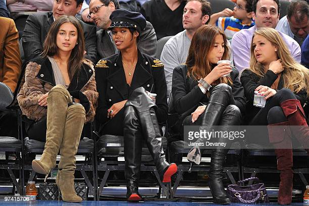 Irina Shayk Jessica White Jessica Gomes and Esti Ginzburg attend the Detroit Pistons vs New York Knicks game at Madison Square Garden on March 3 2010...