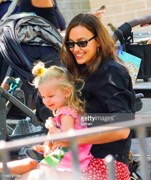 Irina Shayk plays with her daughter Leah Cooper on July 15, 2019 in New York City.