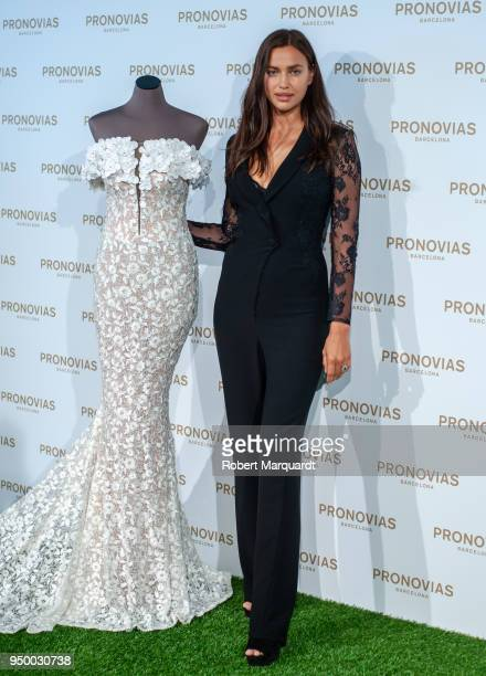 Irina Shayk poses during a photocall for the Pronovias Bridal fitting for Barcelona Bridal Week 2018 on April 22 2018 in Barcelona Spain