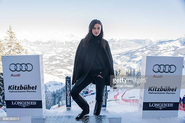 Irina Shayk poses in the starting booth of the Hahnenkamm race on January 22 2016 in Kitzbuehel Austria