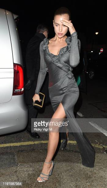 Irina Shayk seen attending Giorgio Armani Fashion Awards afterparty at Harry's Bar on December 02 2019 in London England