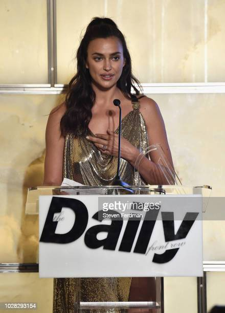 Irina Shayk speaks onstage at the Daily Front Row's Fashion Media Awards presented by ZadigVoltaire Sunglass Hut Moroccan Oil LIM Fiji on September 6...
