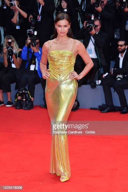 Irina Shayk walks the red carpet ahead of the 'A Star Is Born' screening during the 75th Venice Film Festival at Sala Grande on August 31 2018 in...