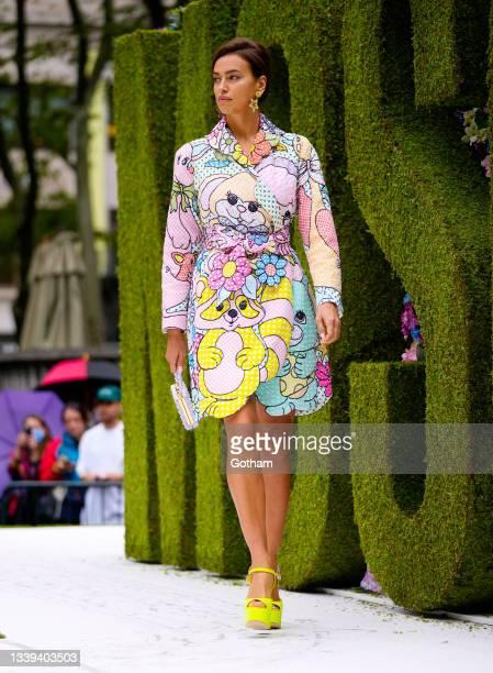 Irina Shayk walks the runway at Moschino show on September 09, 2021 in New York City.