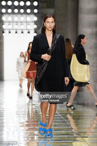 Irina Shayk walks the runway at the Bottega Veneta show during the Milan Fashion Week Spring/Summer 2020 on September 19, 2019 in Milan, Italy.