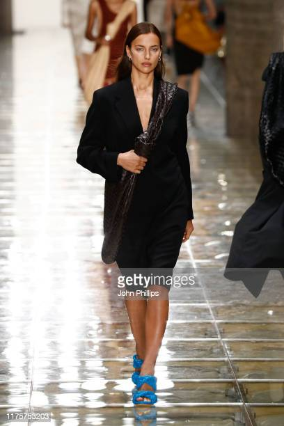 Irina Shayk walks the runway at the Bottega Veneta show during the Milan Fashion Week Spring/Summer 2020 on September 19, 2019 in Milan, Italy.