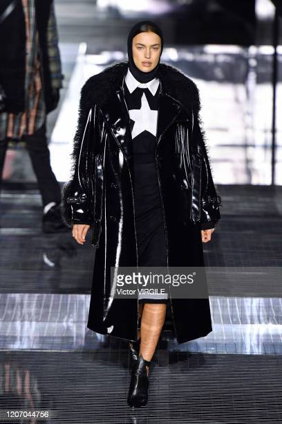 Irina Shayk walks the runway at the Burberry Ready to Wear Fall/Winter 20202021 fashion show during London Fashion Week on February 17 2020 in London...