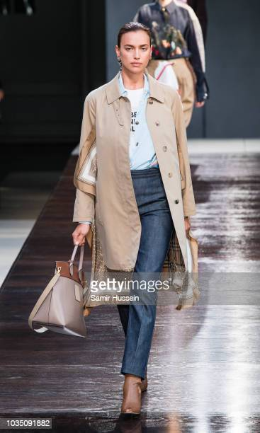 Irina Shayk walks the runway at the Burberry show during London Fashion Week September 2018 on September 17 2018 in London England