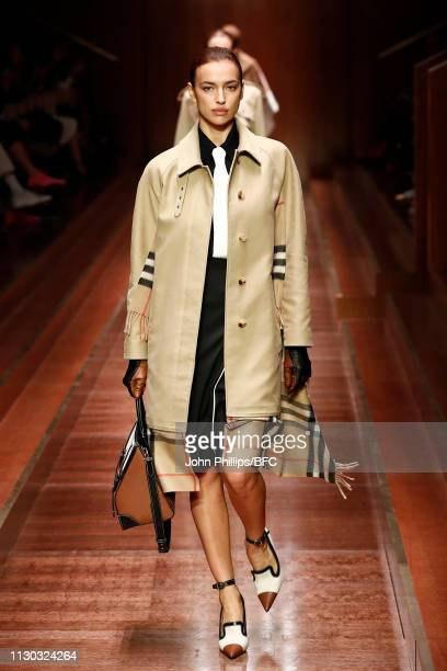 Irina Shayk walks the runway at the Burberry show during London Fashion Week February 2019 on February 17 2019 in London England