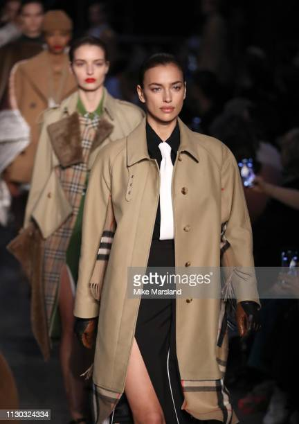 Irina Shayk walks the runway at the Burberry show during London Fashion Week February 2019 on February 17, 2019 in London, England.