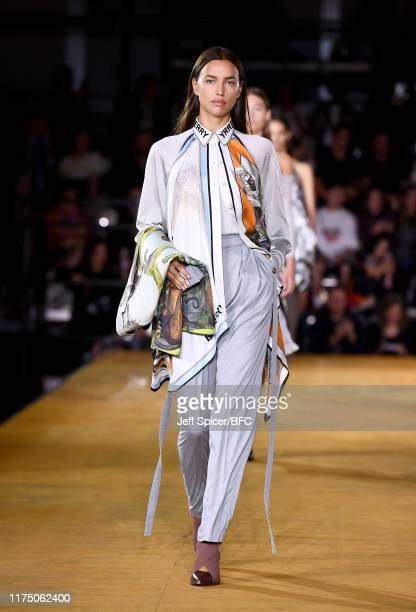 Irina Shayk walks the runway at the Burberry show during London Fashion Week September 2019 at Troubadour White City Theatre on September 16, 2019 in...