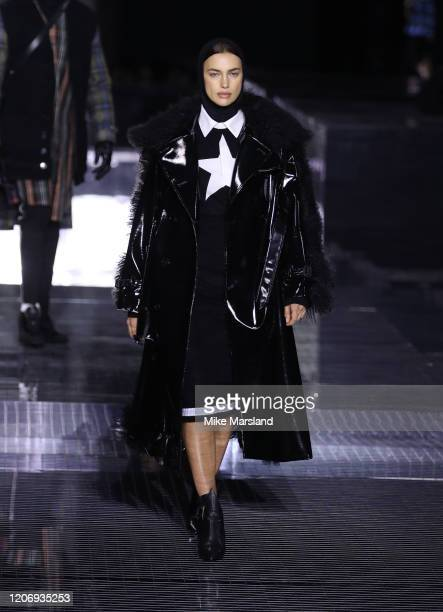Irina Shayk walks the runway at the Burberry show during London Fashion Week February 2020 on February 17 2020 in London England