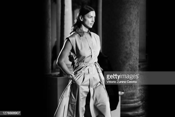 Irina Shayk walks the runway at the HugoBoss fashion show during the Milan Women's Fashion Week on September 25, 2020 in Milan, Italy.