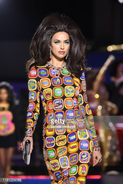 Irina Shayk walks the runway at the Moschino show at Milan Fashion Week Autumn/Winter 2019/20 on February 21 2019 in Milan Italy