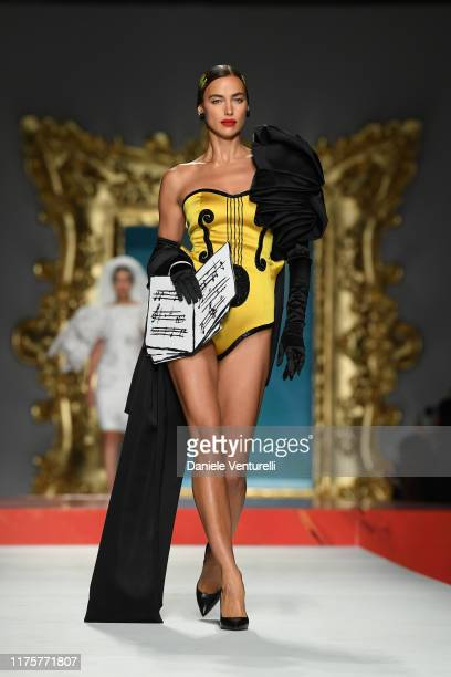 Irina Shayk walks the runway at the Moschino show during the Milan Fashion Week Spring/Summer 2020 on September 19 2019 in Milan Italy
